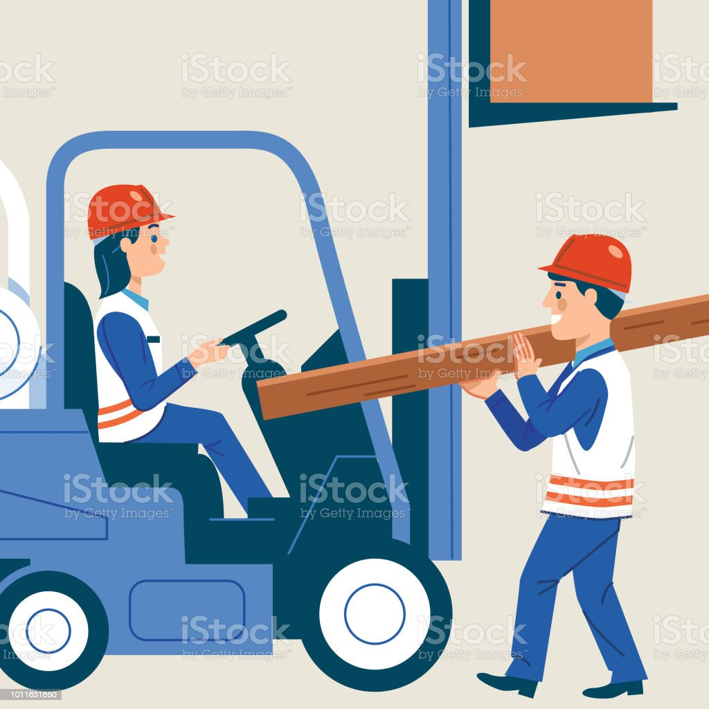 Busy Workplace vector art illustration
