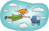 Whimsical vector illustration of a Mommy (or Nanny) with wings pushing a stroller across a cloudy sky.