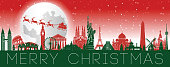 santa claus and reindeer are above world famous landmarks with christmas theme colors,vector illustration