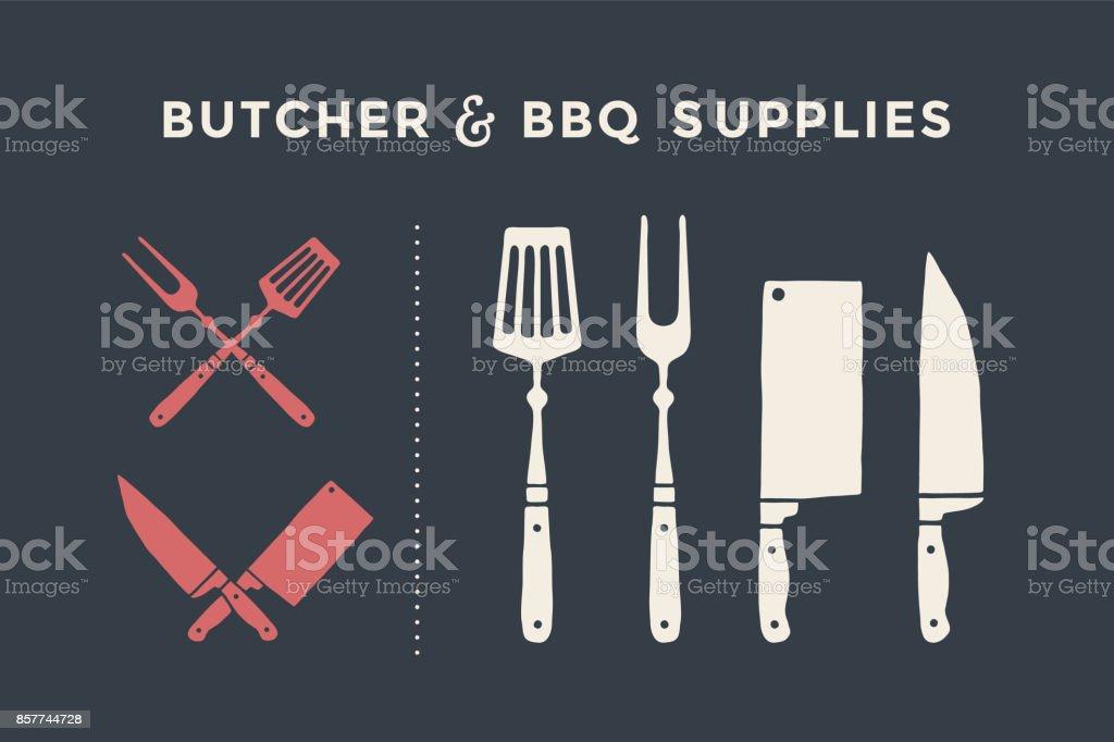 Fournitures de boucherie et BBQ - Illustration vectorielle