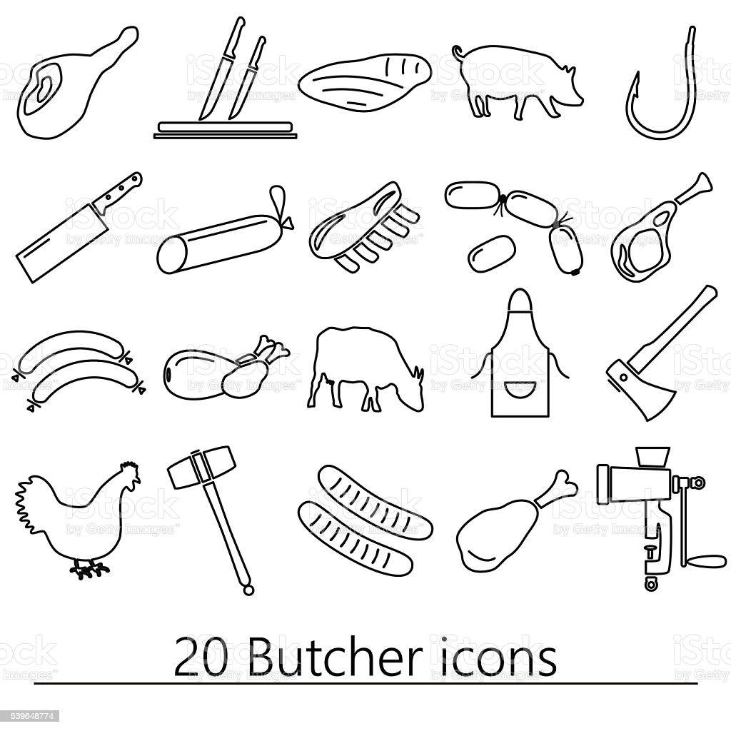 butcher and meat shop black outline icons set eps10 vector art illustration