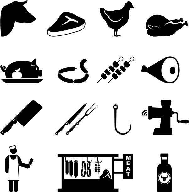 butcher und fleisch shop & schwarz-weiß vektor icon-set - schweinebraten stock-grafiken, -clipart, -cartoons und -symbole
