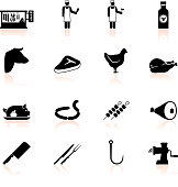 butcher and meat shop black & white vector icon set