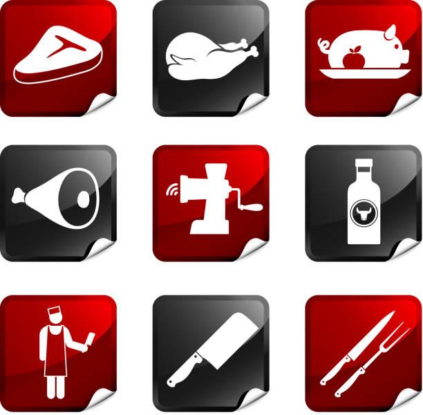 butcher und fleisch shop neun lizenzfreie vektor icon-set - schweinebraten stock-grafiken, -clipart, -cartoons und -symbole