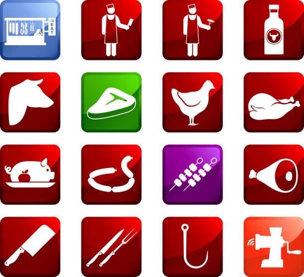 butcher und fleisch shop lizenzfreie vektor-kunst auf aufkleber - schweinebraten stock-grafiken, -clipart, -cartoons und -symbole