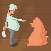 Butcher holding meat cleaver knife and pig with folding razor. Pig is not going to give up
