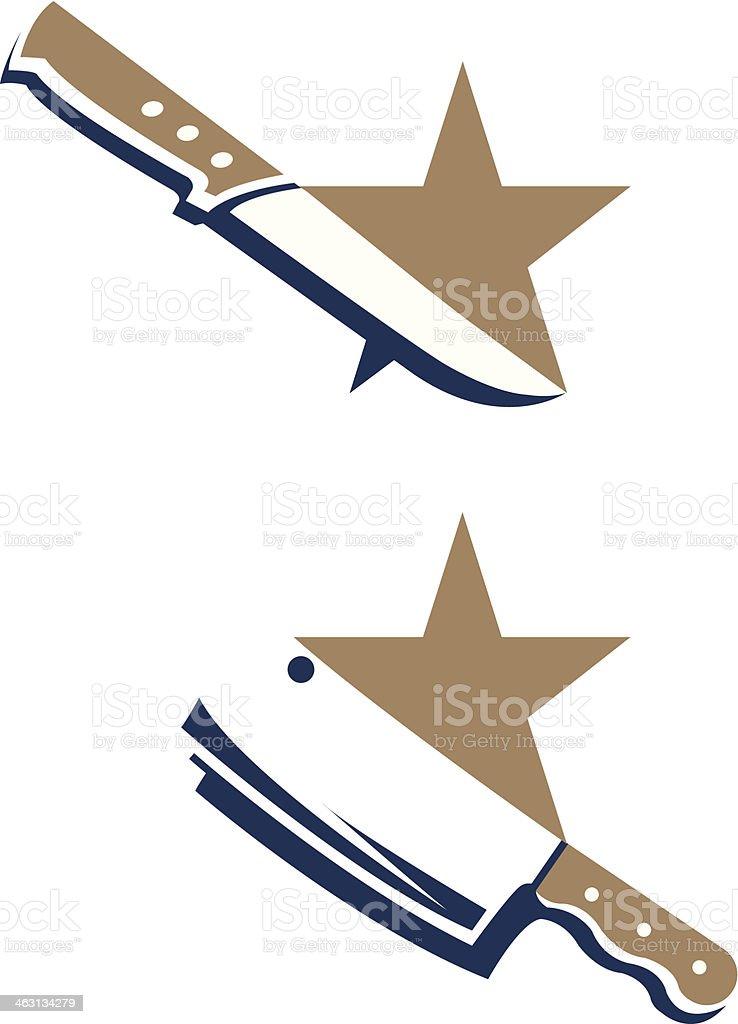 butcher chopping-knife vector art illustration
