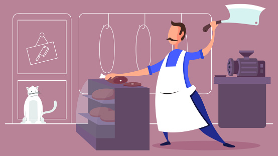 Butcher cutting a pice of meat