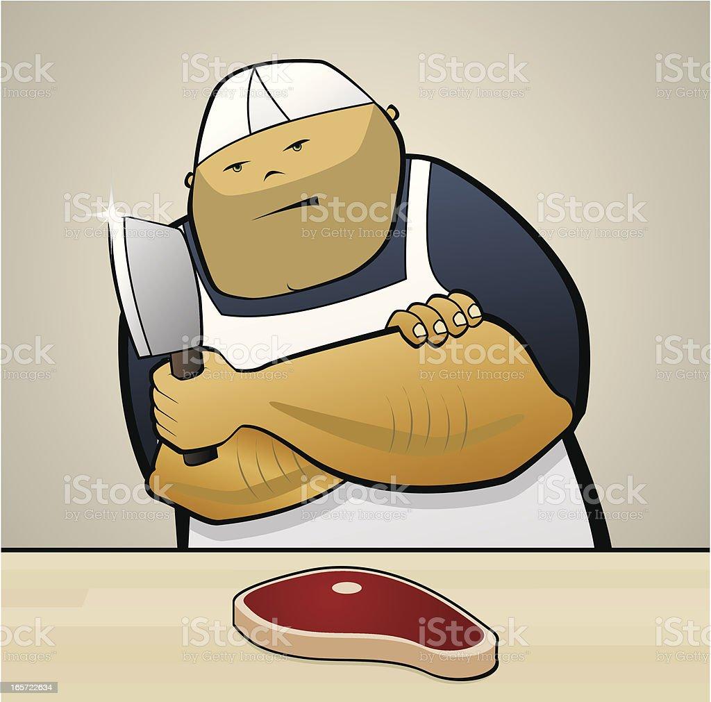Butcher holding knife royalty-free stock vector art