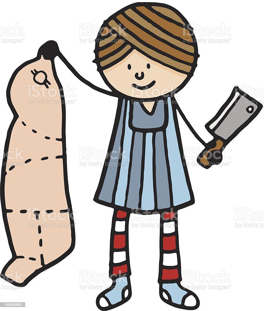 Butcher holding up a pig carcass vector art illustration