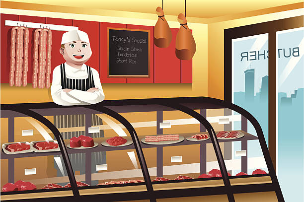 butcher in a meat shop - small business owner stock illustrations