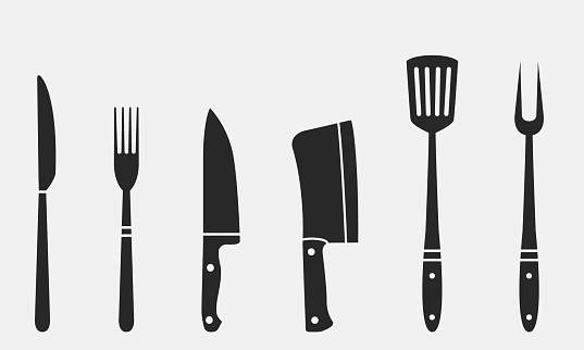 Butcher knives, grill fork and spatula. Fork and knife, meat knife, cleaver, chef, bbq fork. Butcher knives. Set of restaurant icons. Vector Illustration