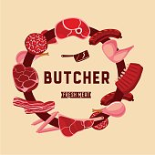Food sign for butchery. Butcher lable with meat.