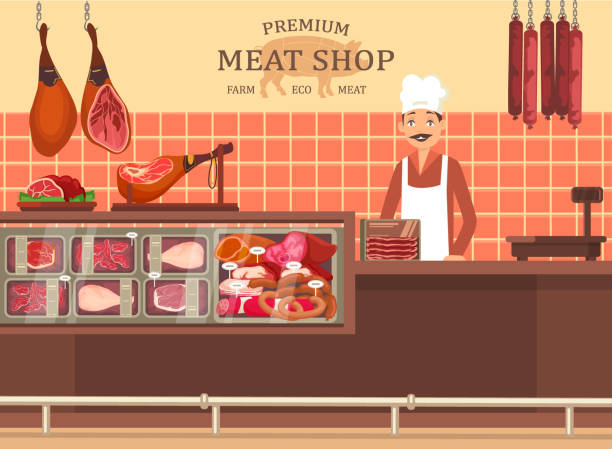 butcher man at meat store showcase with ham - delis stock illustrations