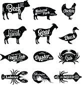Set of butchery and seafood labels. Farm animals and seafood with sample text. Retro styled farm animals and seafood silhouettes collection for groceries, meat stores, seafood shop and advertising.