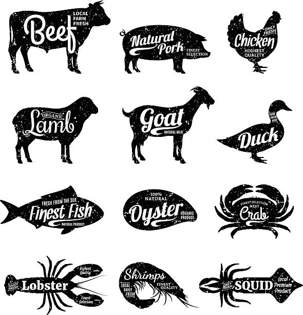 Butcher Shop and Seafood Shop Labels Set of butchery and seafood labels. Farm animals and seafood with sample text. Retro styled farm animals and seafood silhouettes collection for groceries, meat stores, seafood shop and advertising. poultry stock illustrations