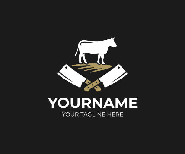 Butcher shop design. Cow and meat cleaver knife vector design. Butchery design Butcher shop design. Cow and meat cleaver knife vector design. Butchery design utility knife stock illustrations