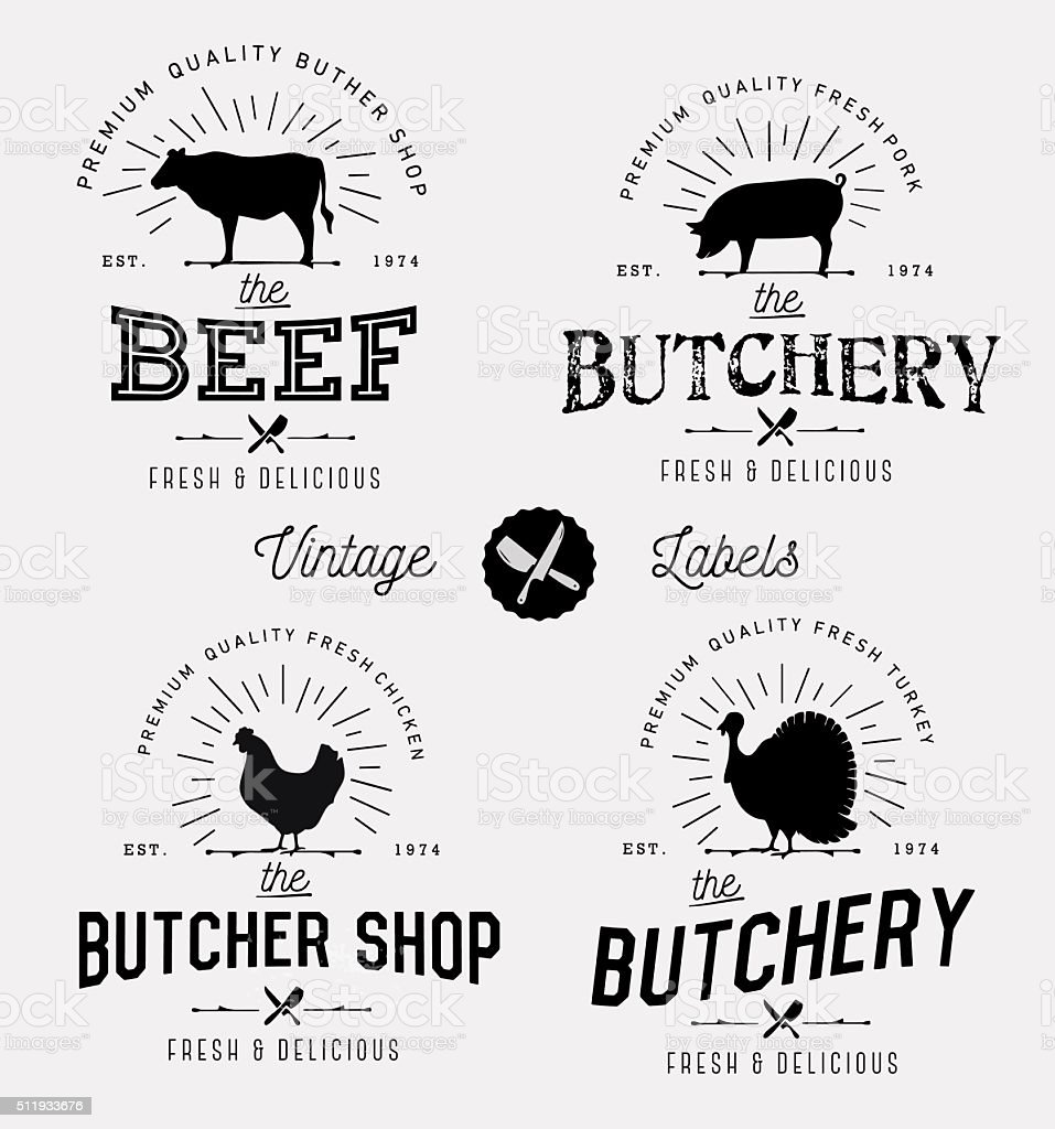 Butcher Shop Design Elements, Labels and Badges in Vintage Style vector art illustration