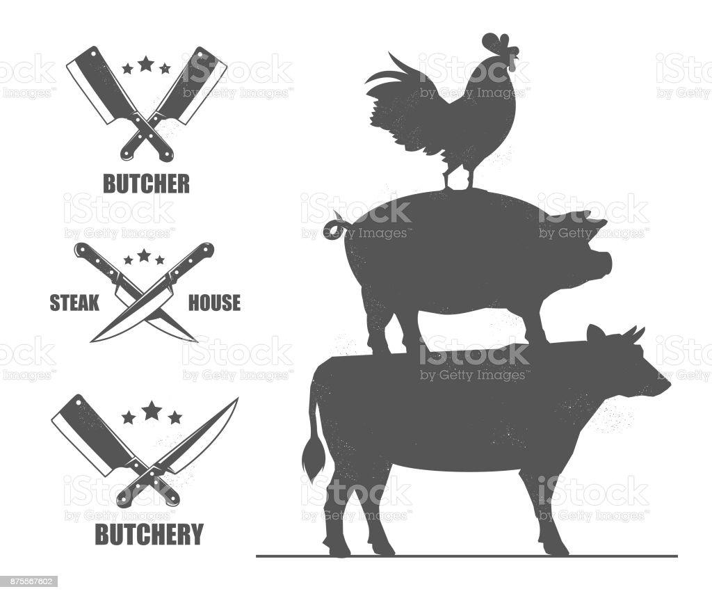 Ilustración de Emblemas De La Tienda Con Cuchillos Y Hachas De ...