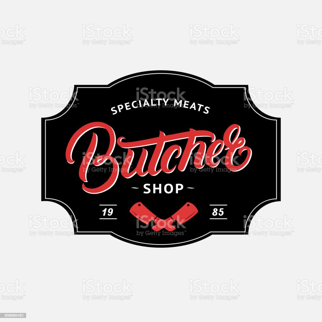 Boucherie manuscrite Boutique lettrage logo, étiquette, insigne, emblème. - Illustration vectorielle