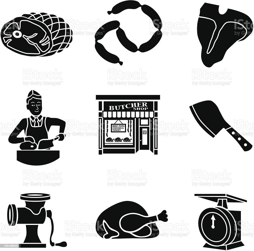 butcher shop icons royalty-free stock vector art