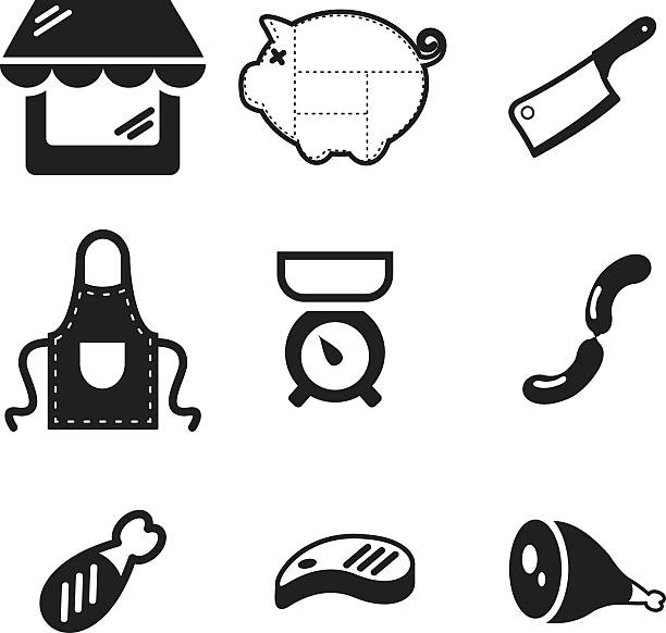 butcher shop symbole - roastbeef stock-grafiken, -clipart, -cartoons und -symbole