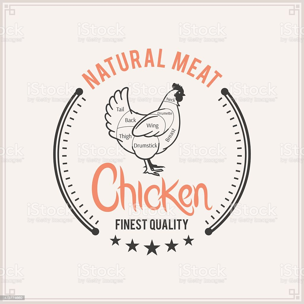 Butcher Shop Label Template Chicken Cuts Diagram Stock Vector Art Meat Symbol Royalty Free