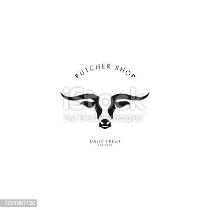 istock Butcher shop. Logo template. Texas longhorn bull 1201907190