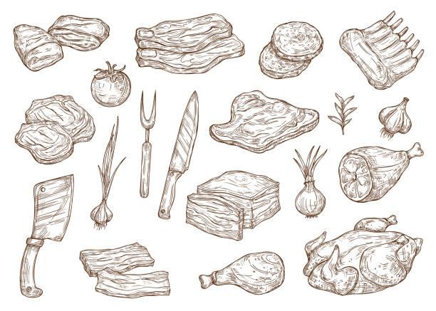 bildbanksillustrationer, clip art samt tecknat material och ikoner med slaktare butik kött och grill matlagning, skiss - loin