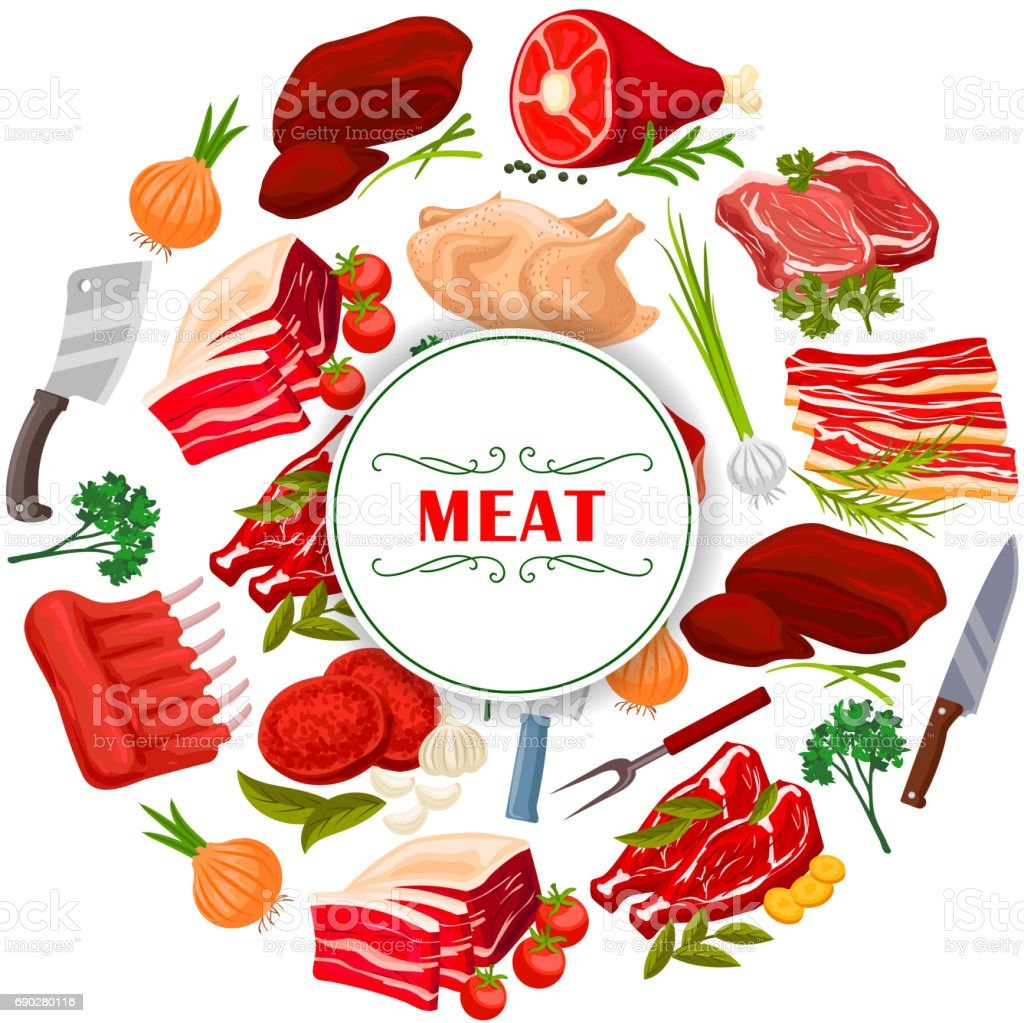 Butcher shop meat or butchery vector poster vector art illustration