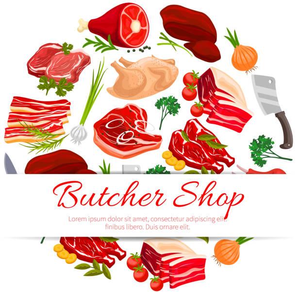 butcher shop fleisch produkte plakat für food-design - roastbeef stock-grafiken, -clipart, -cartoons und -symbole