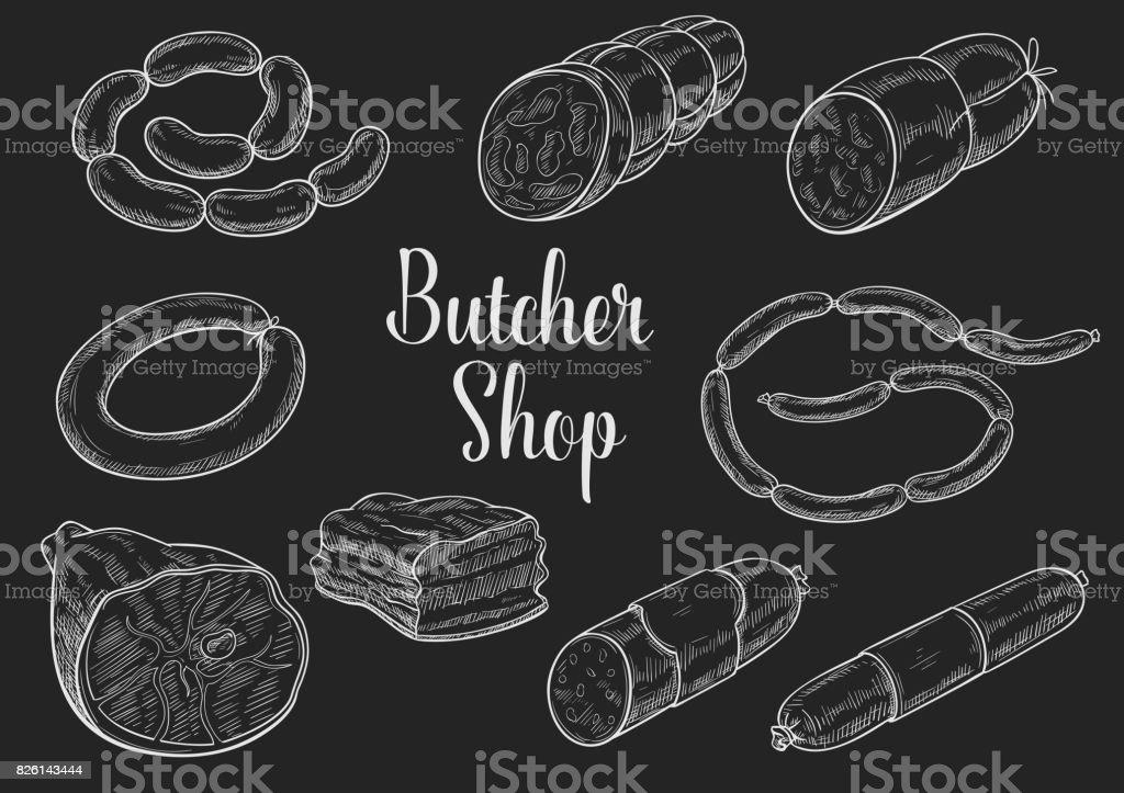 肉屋店肉ソーセージ スケッチ ベクトルのアイコン ベクターアートイラスト