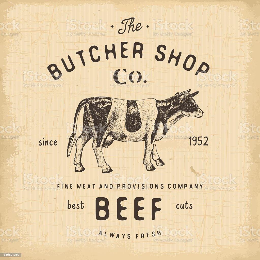 Butcher Shop vintage emblem beef meat products, butchery Label. vector vector art illustration