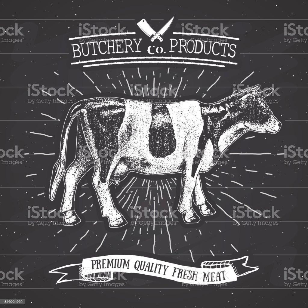 Butcher Shop Vintage Emblem Beef Meat Products Butchery