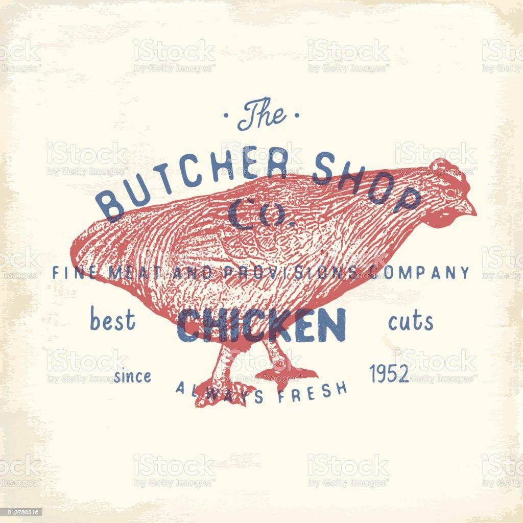 Ilustración de Carnicero Emblema Vintage Shop Productos De Carne De ...