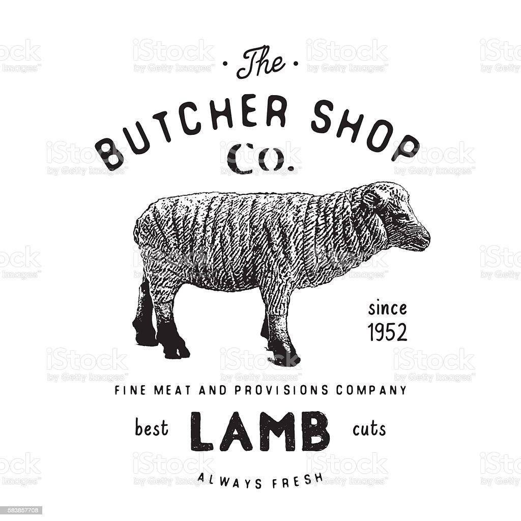 Butcher Shop Vintage Emblem Lamb Meat Products Butchery Label Vector ...