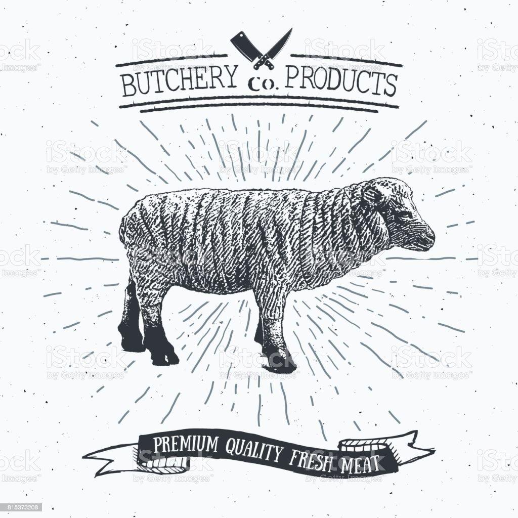 Ilustración de Tienda Vintage Emblema Cordero Carnes Carnicería ...
