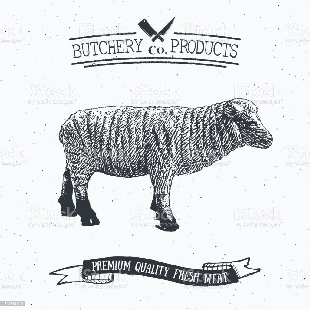 Butcher Shop Vintage Emblem Lamb Meat Products Butchery Logo ...