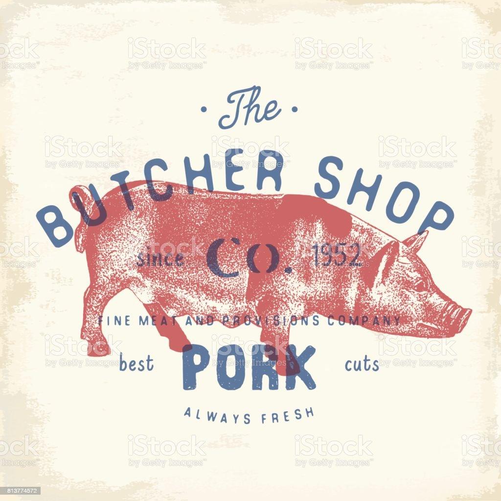 Butcher Shop vintage emblème viande Charcuterie, boucherie style rétro de modèle de Logo. Vintage Design pour la conception de logo, étiquette, Badge et marque. illustration vectorielle. - Illustration vectorielle