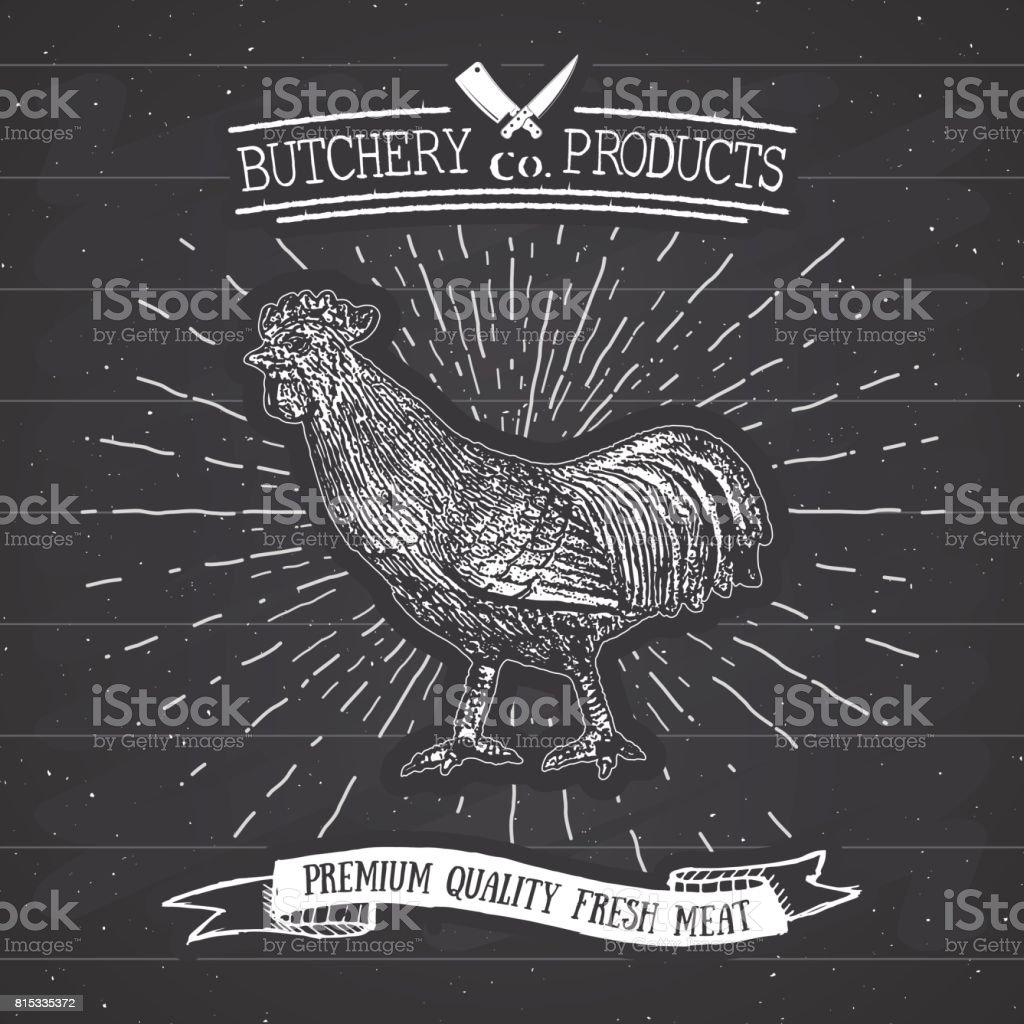Ilustración de Tienda Vintage Emblema Gallo Carnes Carnicería Estilo ...
