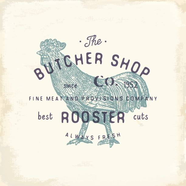 butcher shop vintage emblem rooster meat products, butchery logo template retro style. vintage design for logotype, label, badge and brand design. vector illustration - rooster stock illustrations, clip art, cartoons, & icons