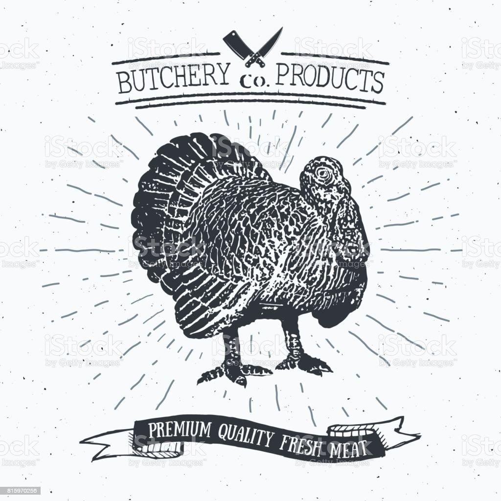 Butcher Shop Vintage Emblem Türkei Fleischwaren Metzgerei Logo ...