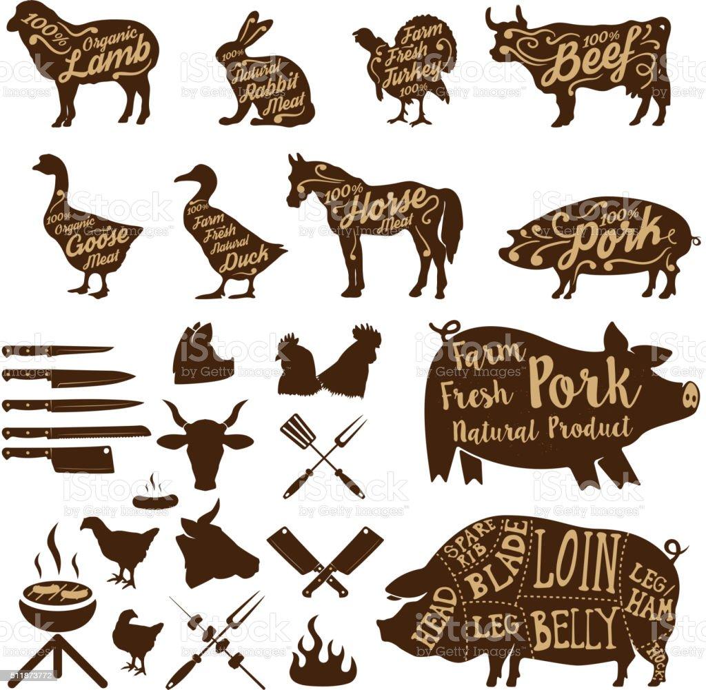 boucherie outils. Animaux de la ferme. Porc fraîches. - Illustration vectorielle