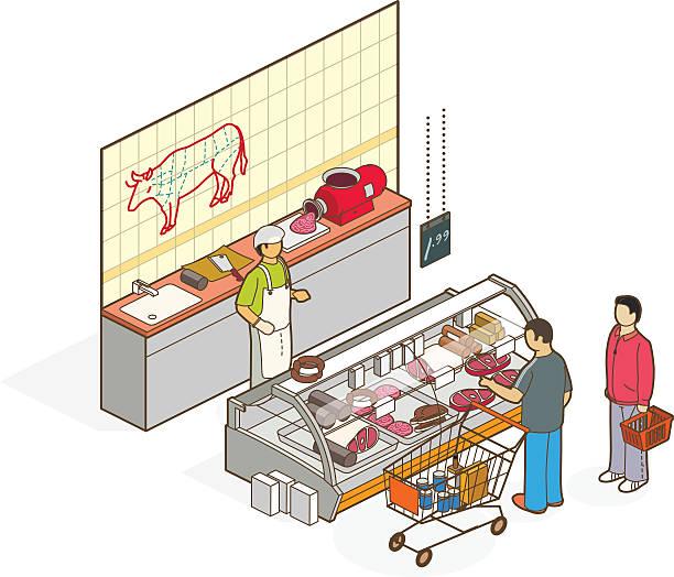 ilustrações, clipart, desenhos animados e ícones de açougueiro - delicatessen