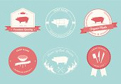 Vintage style designs for Butcher Shop labels. Middle two labels include diagrams showing different cuts of pork meat.