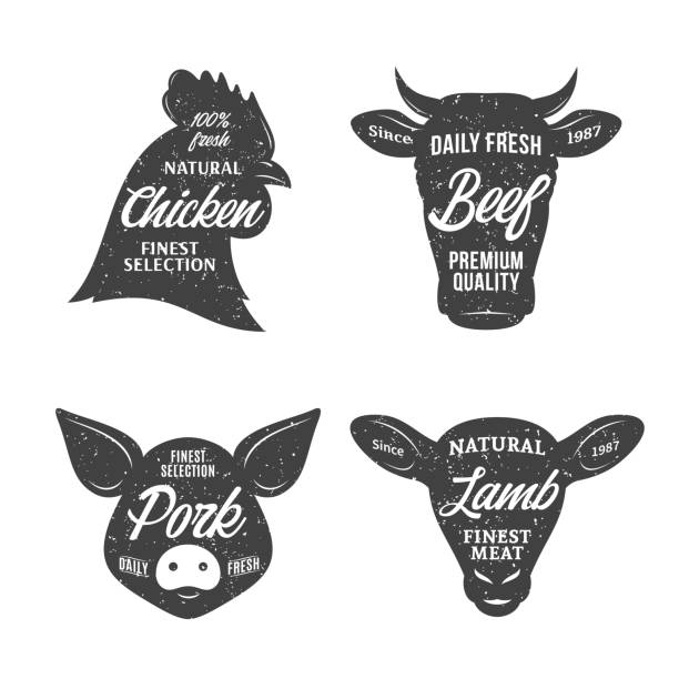Butchery label templates. Farm animal icons Retro styled butchery label templates. Farm animal icons for groceries, meat stores, butcher's shops, packaging and advertising. poultry stock illustrations