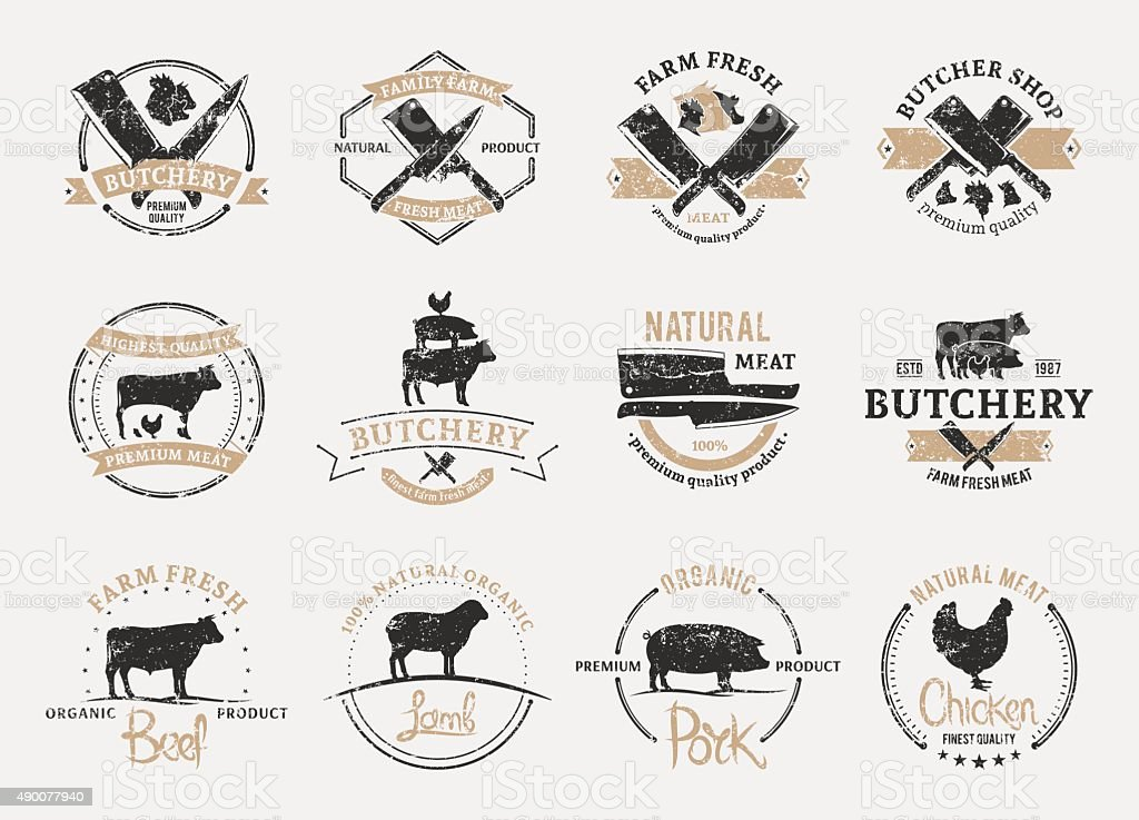 Butchery Labels, and Design Elements. Farm Animals Silhouettes and Icons vector art illustration