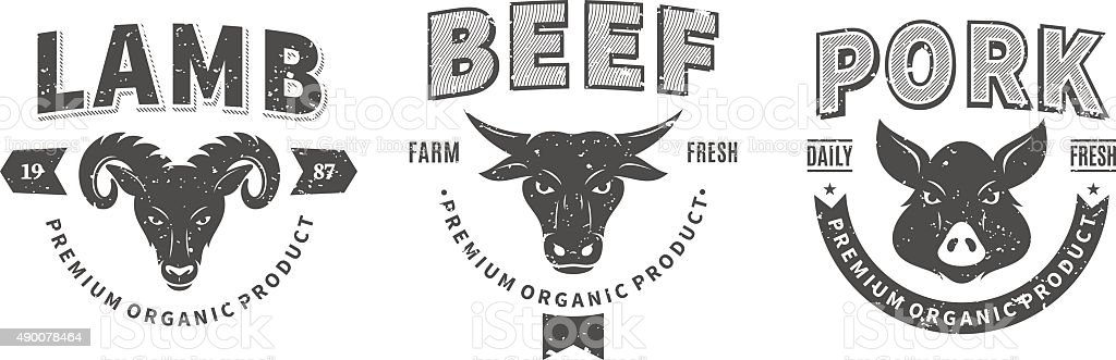 Butchery Labels, Farm Animals Icons and Design Elements vector art illustration