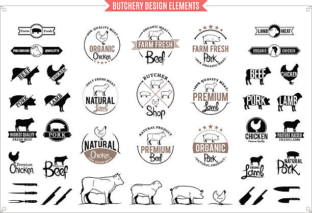 bildbanksillustrationer, clip art samt tecknat material och ikoner med butchery logos, labels, charts and design element - fläsk biff kyckling