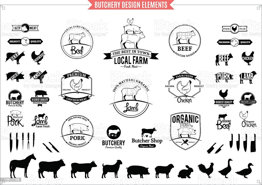 Butchery Logos, Labels, Charts and Design Elements vector art illustration